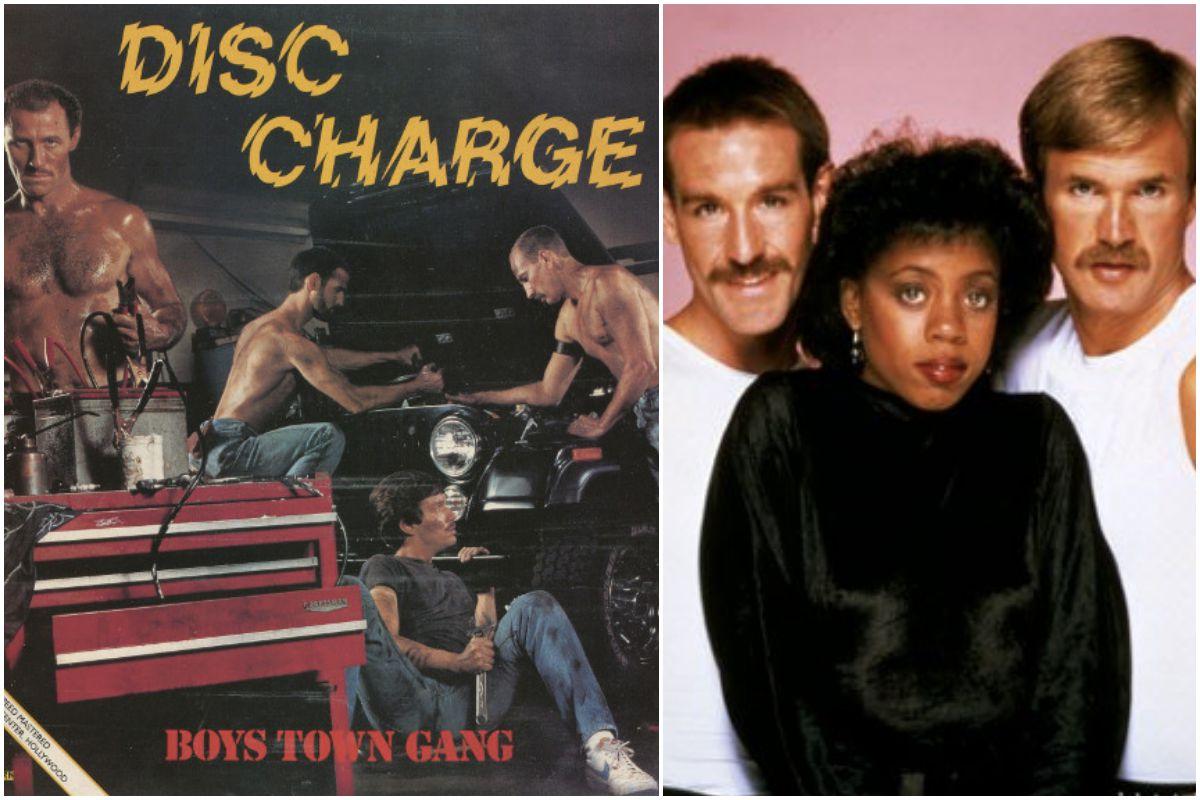 Potada del disco de Boys town gang y una foto de este trío americano. Fotos: Facebook.