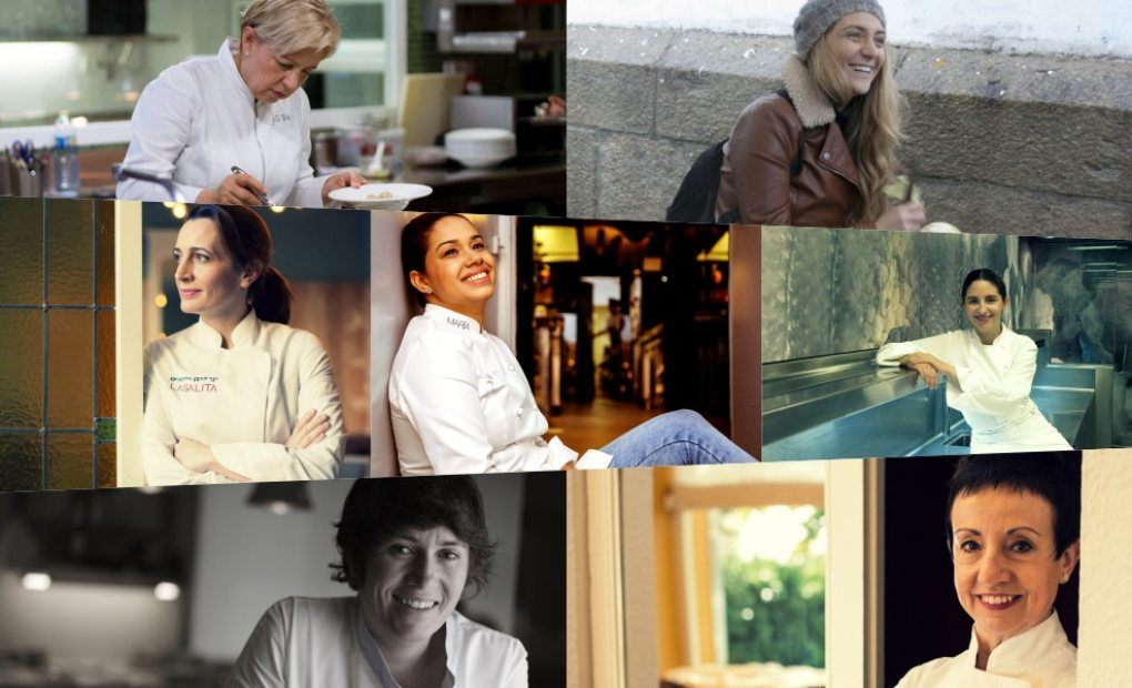 Collage de fotos de las siete mujeres en la élite de la gastronomía española: Susi Díaz, Lucía Freitas, Begoña Rodrigo, María Marte, Elena Arzak, Maca de Castro y Carme Ruscalleda.