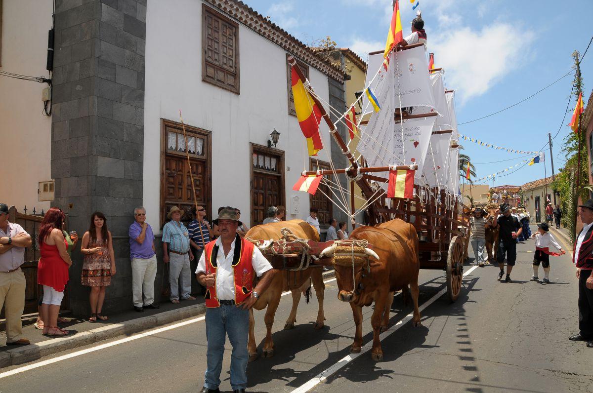 Los bueyes tiran de una carreta con un barco durante la romería de San Isidro Labrador en Tacoronte, Tenerife.