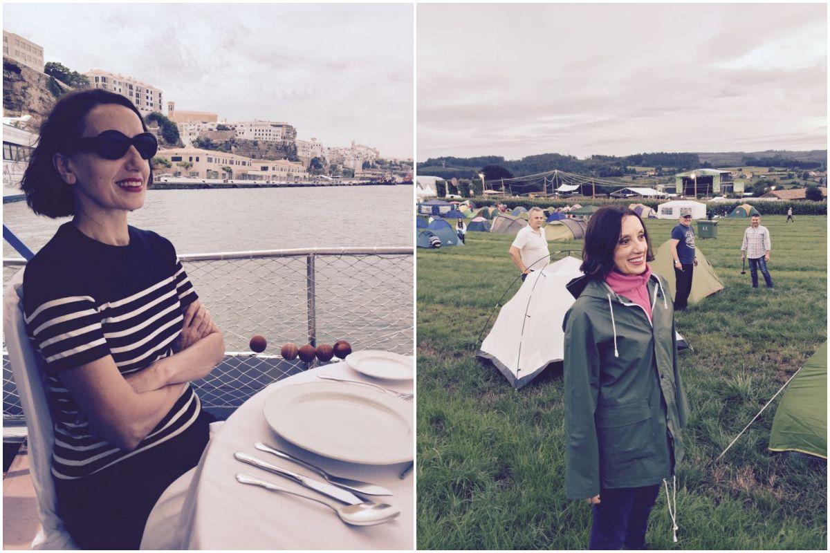 Luz Casal en la terraza de un restaurante en Mahón, y en el Festival de la Luz, en Boimoro (A Coruña).