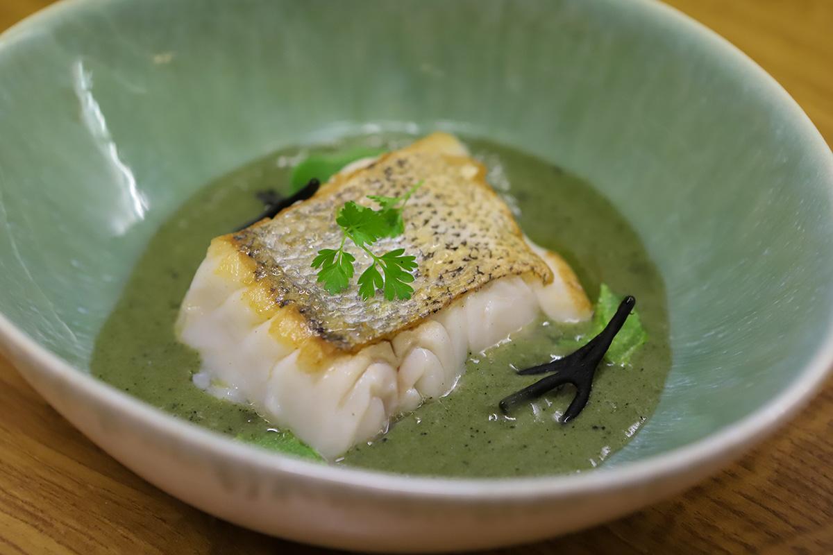 Merluza de anzuelo curada con salsa verde de plancton marino y alga codium