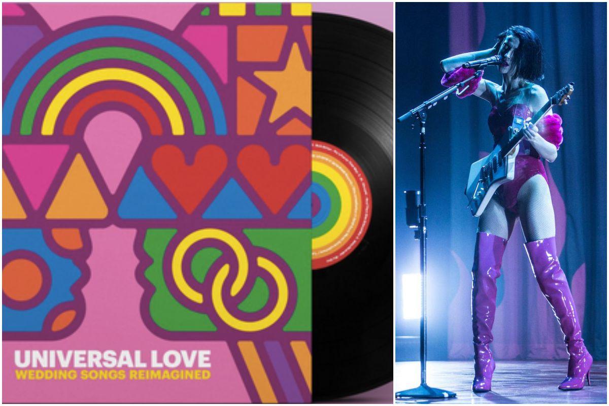 Portada del disco de St Vincent, 'Universal Love', y un momento de la actuación de Annie Clark. Fotos: Facebook.