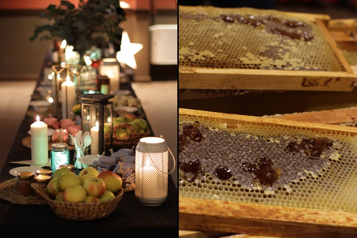 La mesa, preparada para la cata bajo las estrellas y panales de miel de La Travina.