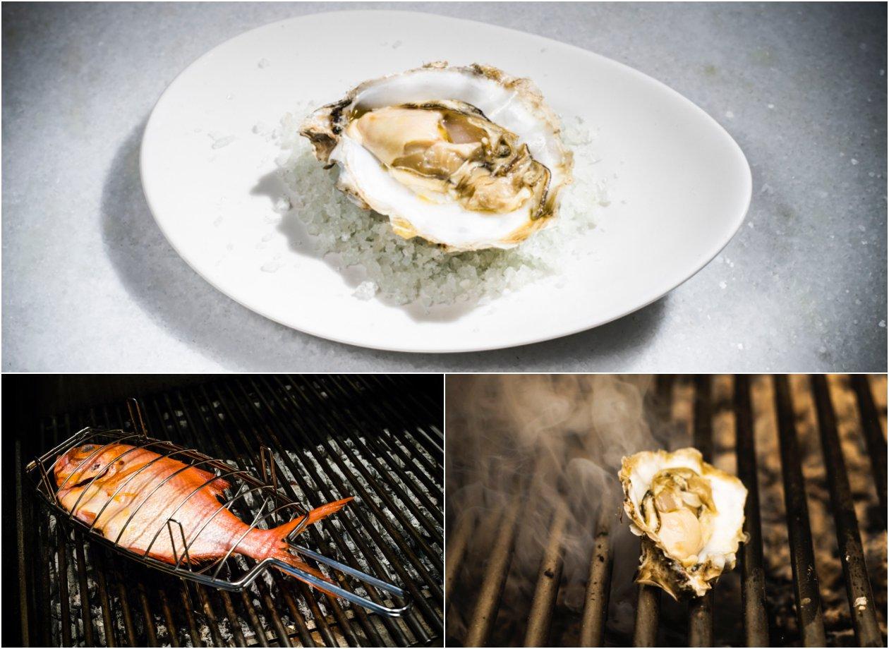 Dos platos del restaurante 'El Señor Martín': ostra y pescado a la brasa.