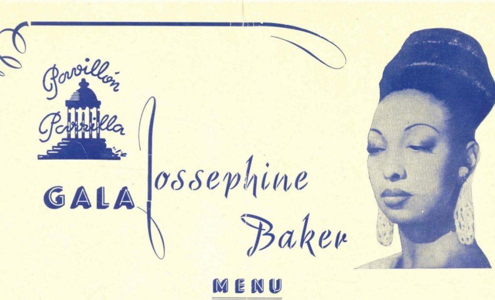 Detalle del menú con retrato de Jossephine Baker.