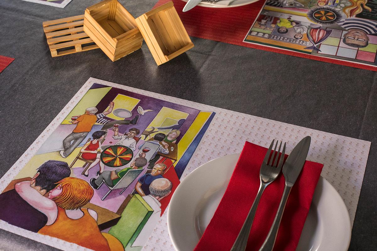 Desde el mantel hasta la servilleta, explosión de colores en la mesa.