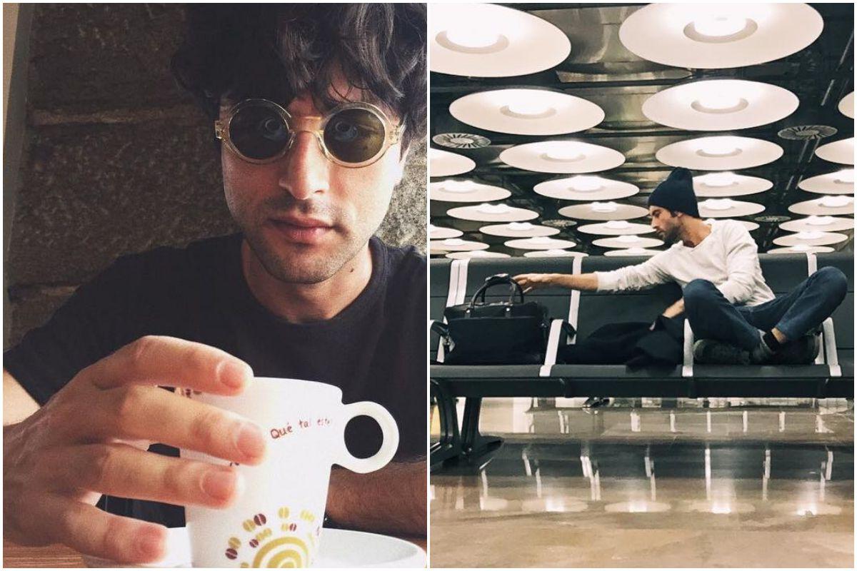El actor Javier Rey tomando un café mañanero antes de realizar un viaje de trabajo.