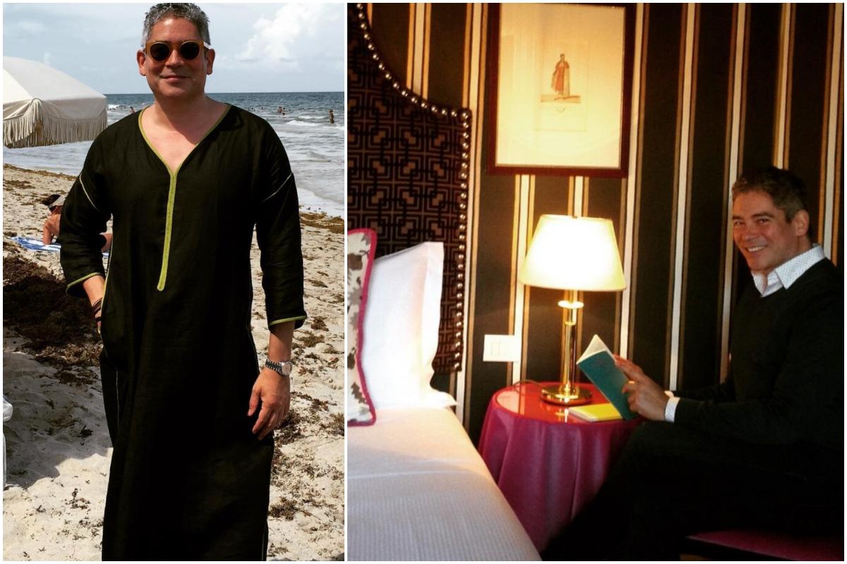Boris Izaguirre en la playa y en un hotel, leyendo un libro.