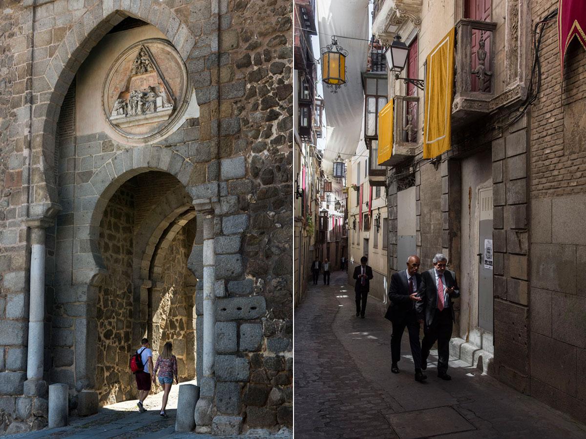 La Puerta del Sol de Toledo, una de las entradas al barrio y la calle Alfileritos.