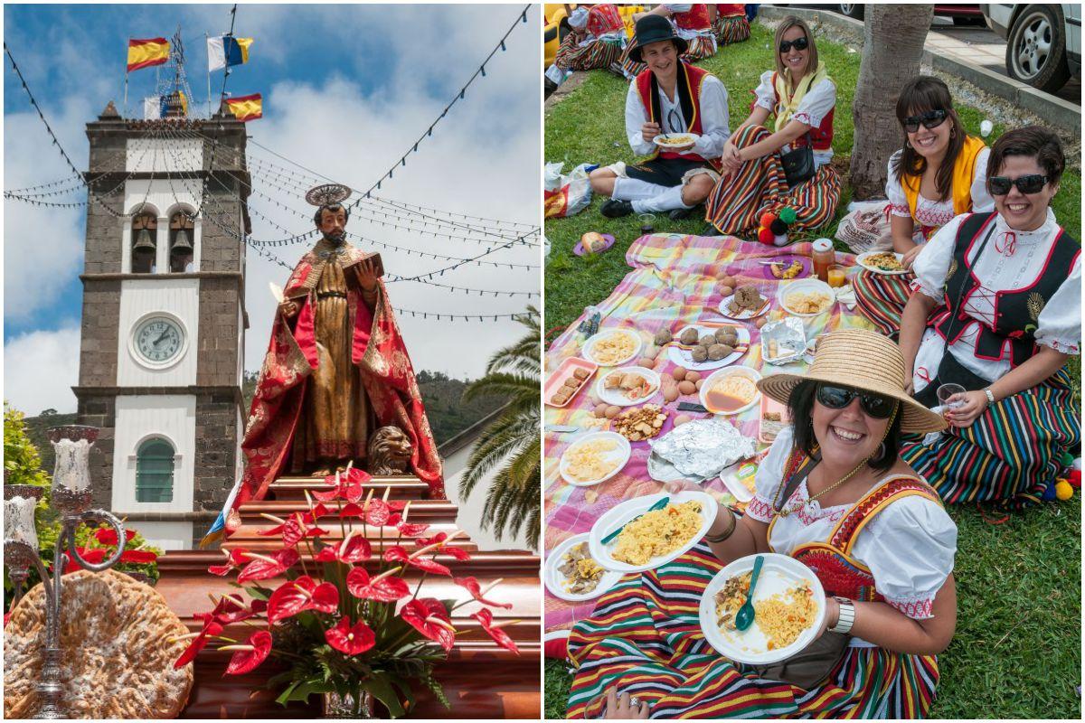 Vista de San Marcos en Tegueste, Tenerife, durante la romería en su honor, y vista de unas romeras haciendo un pícnic.