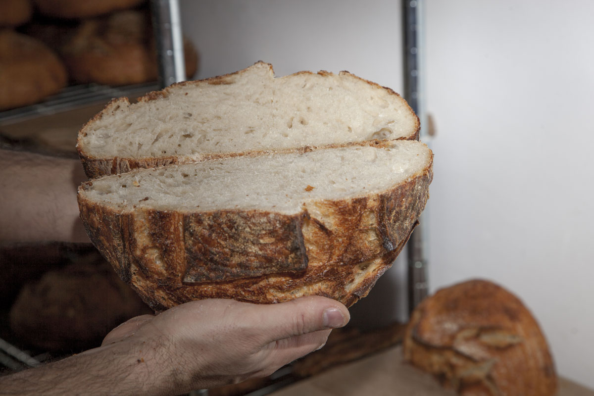 Así se ve una hogaza de trigo blanco por dentro.