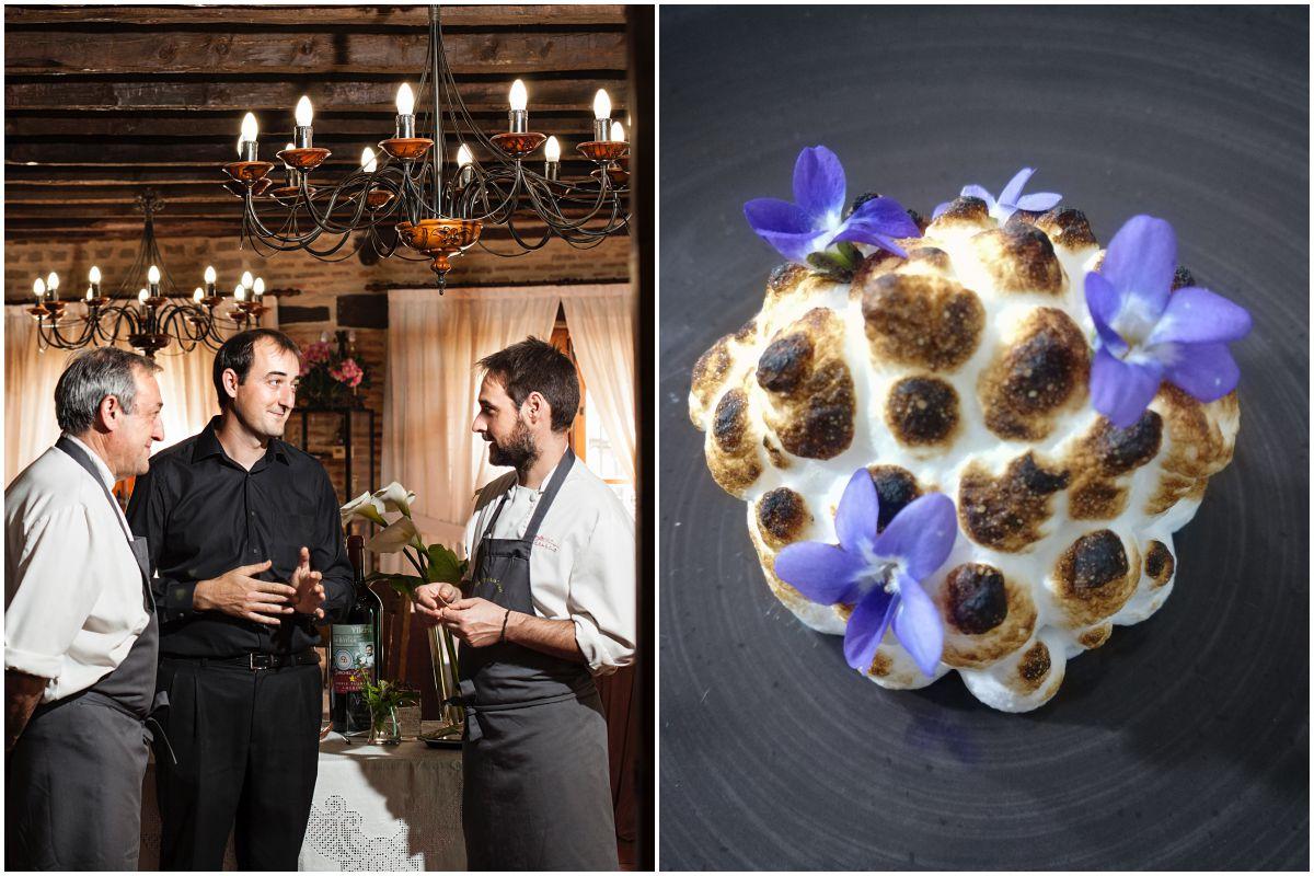 Los responsables del restaurante 'La Botica', de Matapozuelos, Madrid y Mus Mus de piñones y miel con merengue tostado y violetas. Fotos: La Botica.