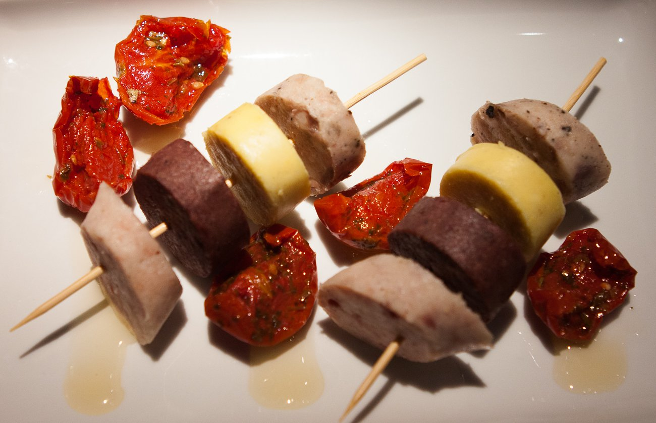 Brocheta de butifarra.