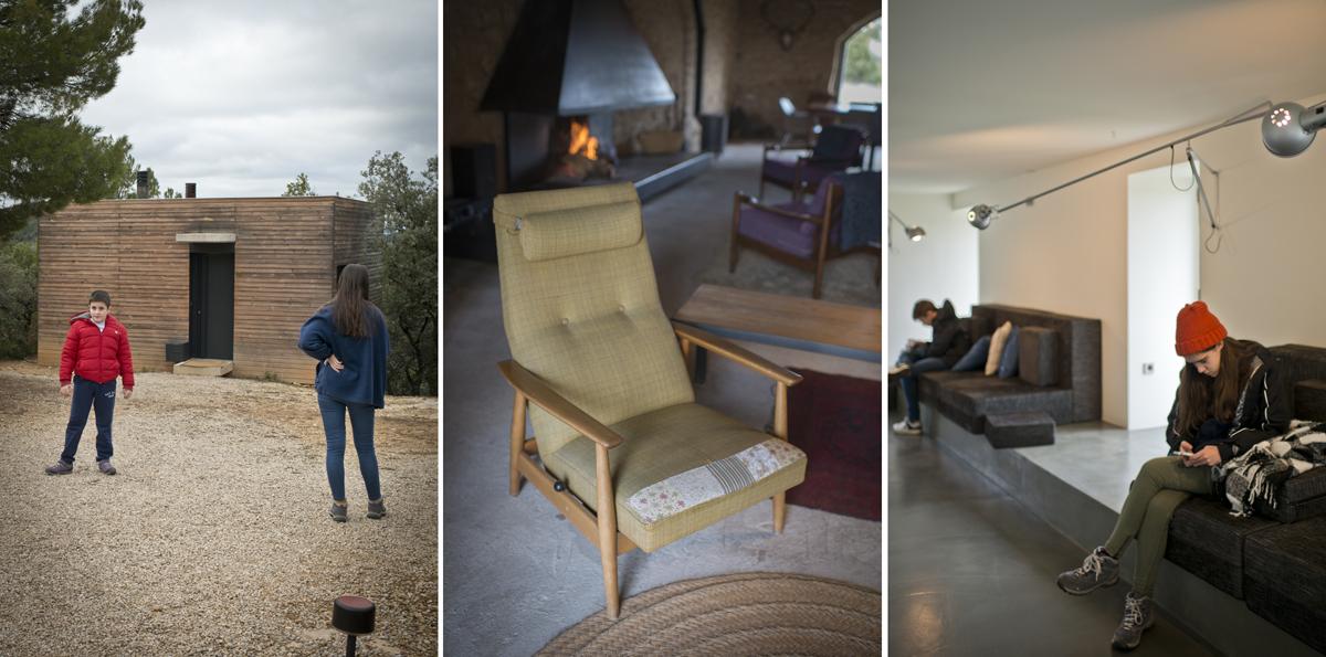 Un sillón de los 50 para sentarse a tomar una copa ante la chimenea de 'El Garaje', detalles de la decoración y el 'lobby'.