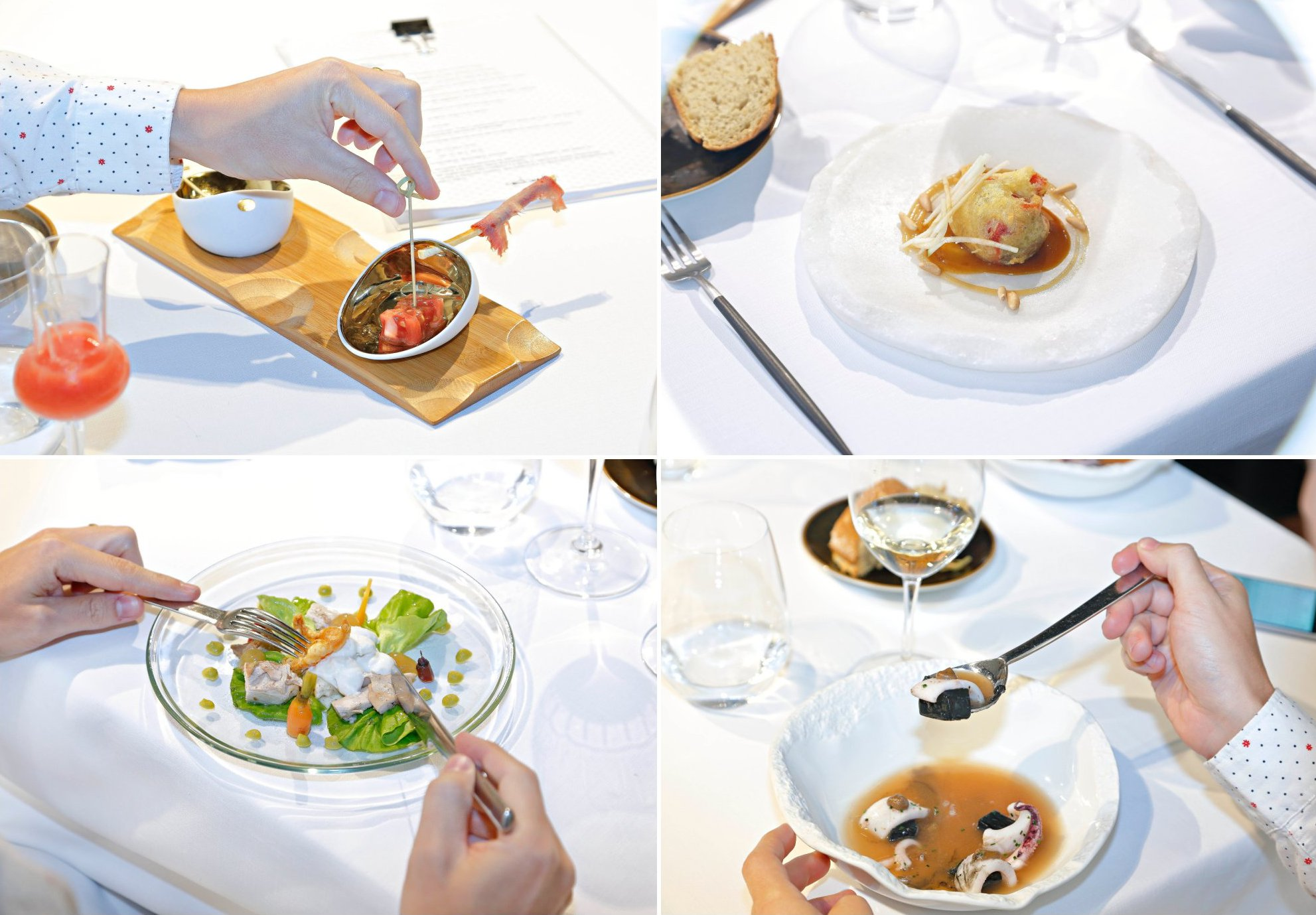 Propuestas del Menú 534: tomates de Mansilla de las Mulas; rulo de pimientos asados, morcilla, piñones y manzanas; ensalada césar de perdiz escabechada; y guiso de patata kuzu, calamar y alioli de ajo negro.