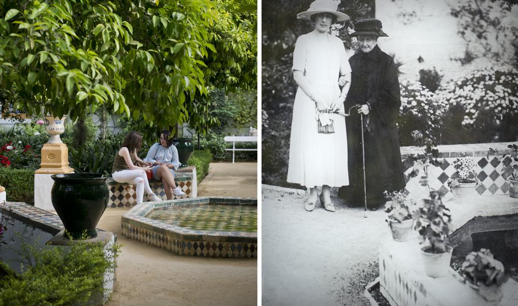Dos meses antes de su muerte, Eugenia, con 94 años, paseaba con la Reina Victoria Eugenia por Las Dueñas. Hoy y ayer.