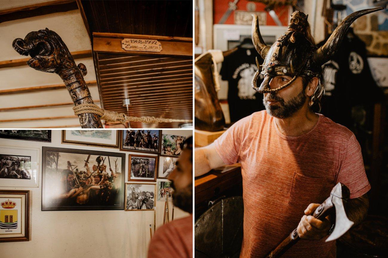 Detalles del bar y Fernando, con casco y hacha hechas por él mismo.
