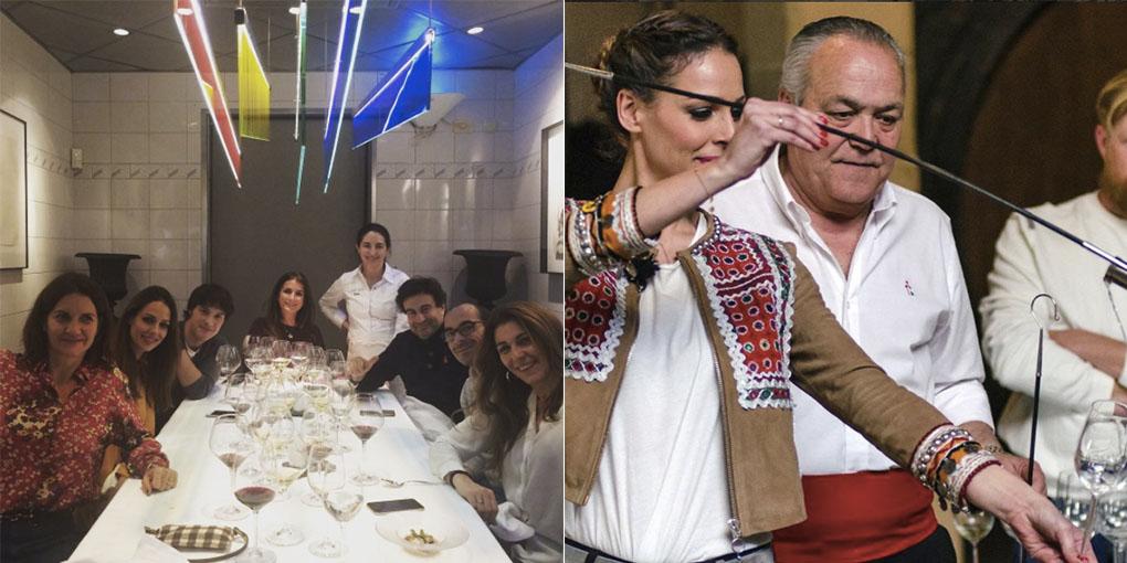 Eva González en el Arzak y venenciando fino de Jeréz. Foto: Cedidas.