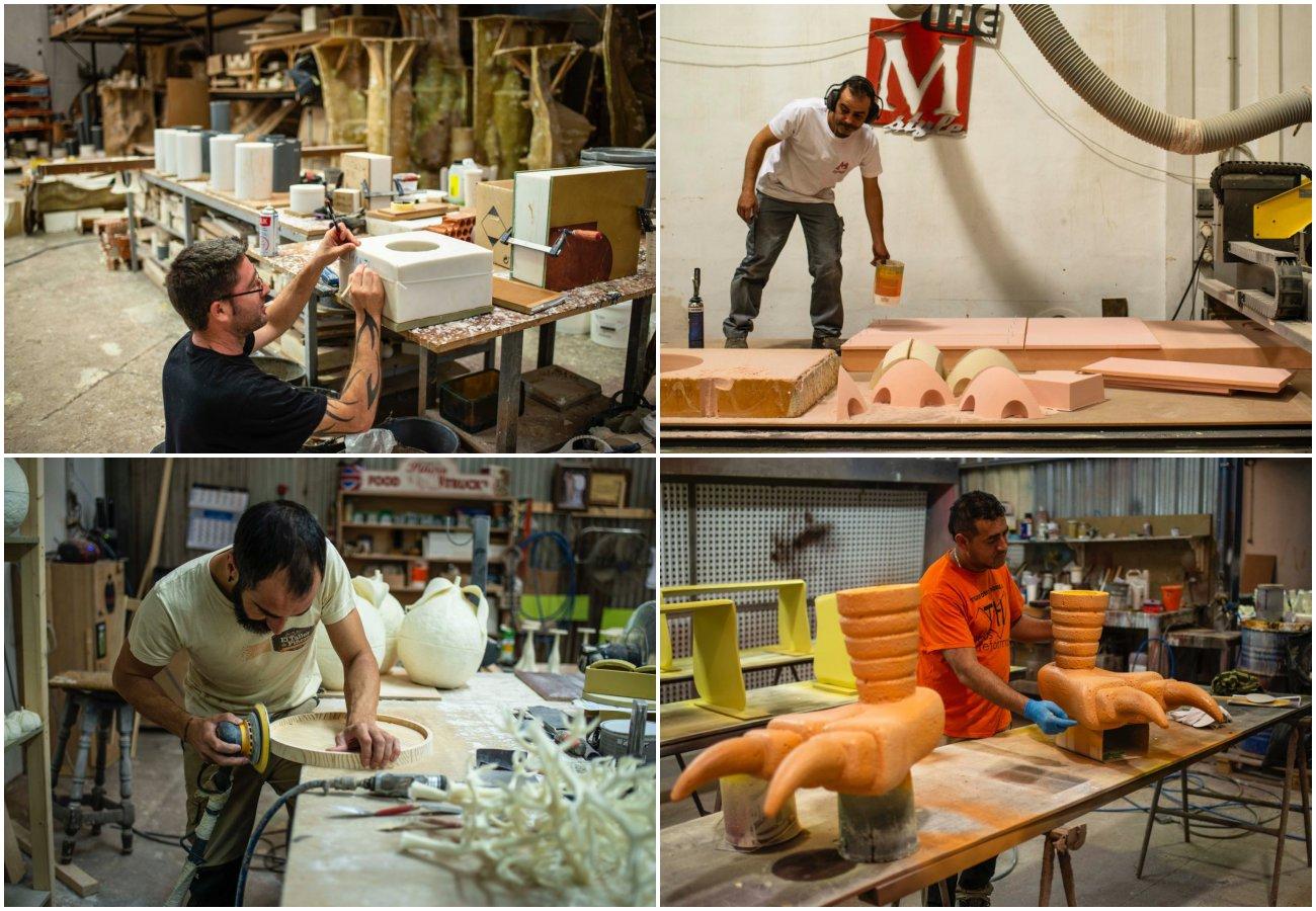 Taller de Piñero. Varios empleados trabajando en distintos oficios.