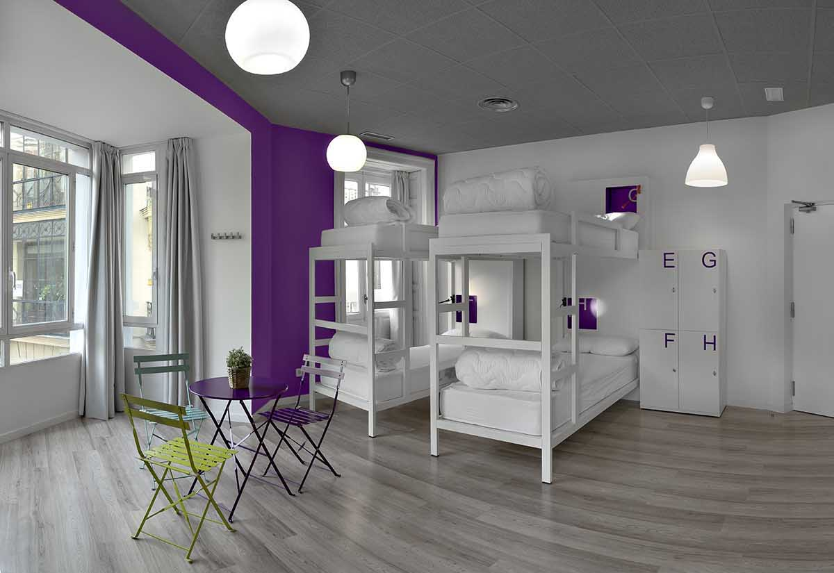 Dormitorio de U-Hostels, Madrid.