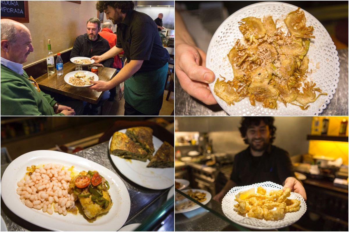 Bacalao con judías de Santa Pau y tortilla de calabacín y berenjena; calamares a la romana y alcachofas con virutas de foie.
