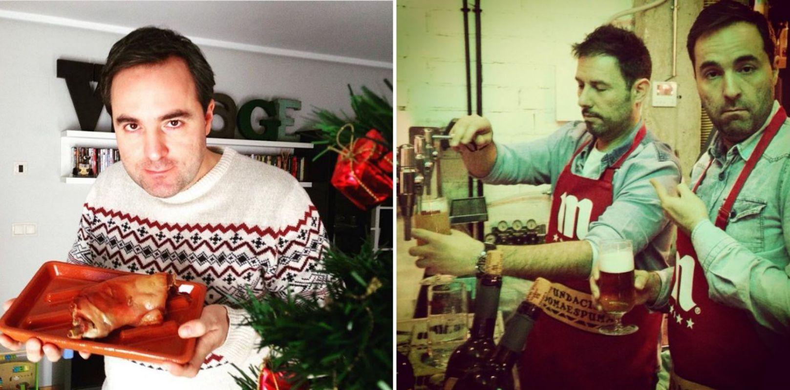 No se considera cocinillas aunque lo intenta. Aquí con un cochinillo navideño y tirando cerveza con Iñaki Urrutia. Fotos: Facebook.