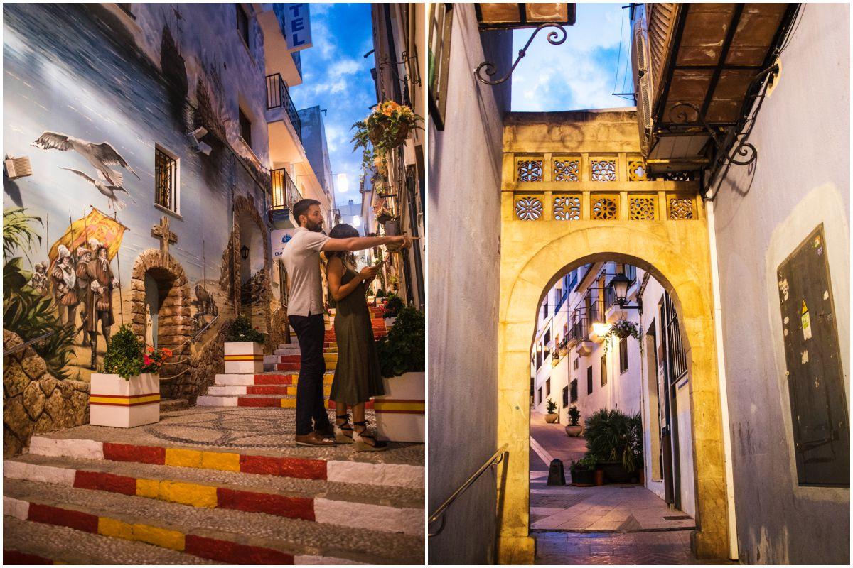 La calle Puchalt y el Forat del Mar, en el casco histórico de Calpe, Alicante.