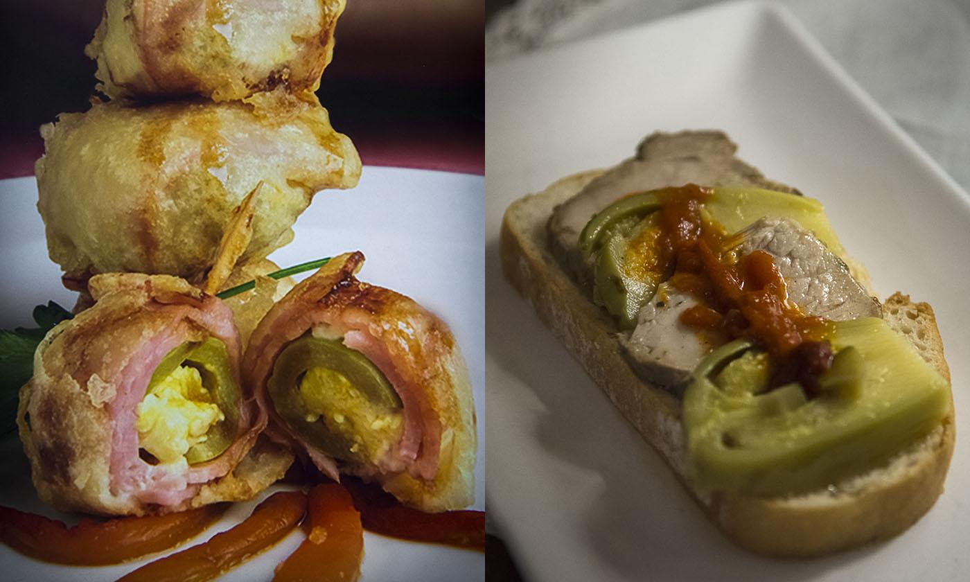 'Deseos carnosos' y camada de jamón ibérico en escabeche y láminas de berenjenas de Almagro.