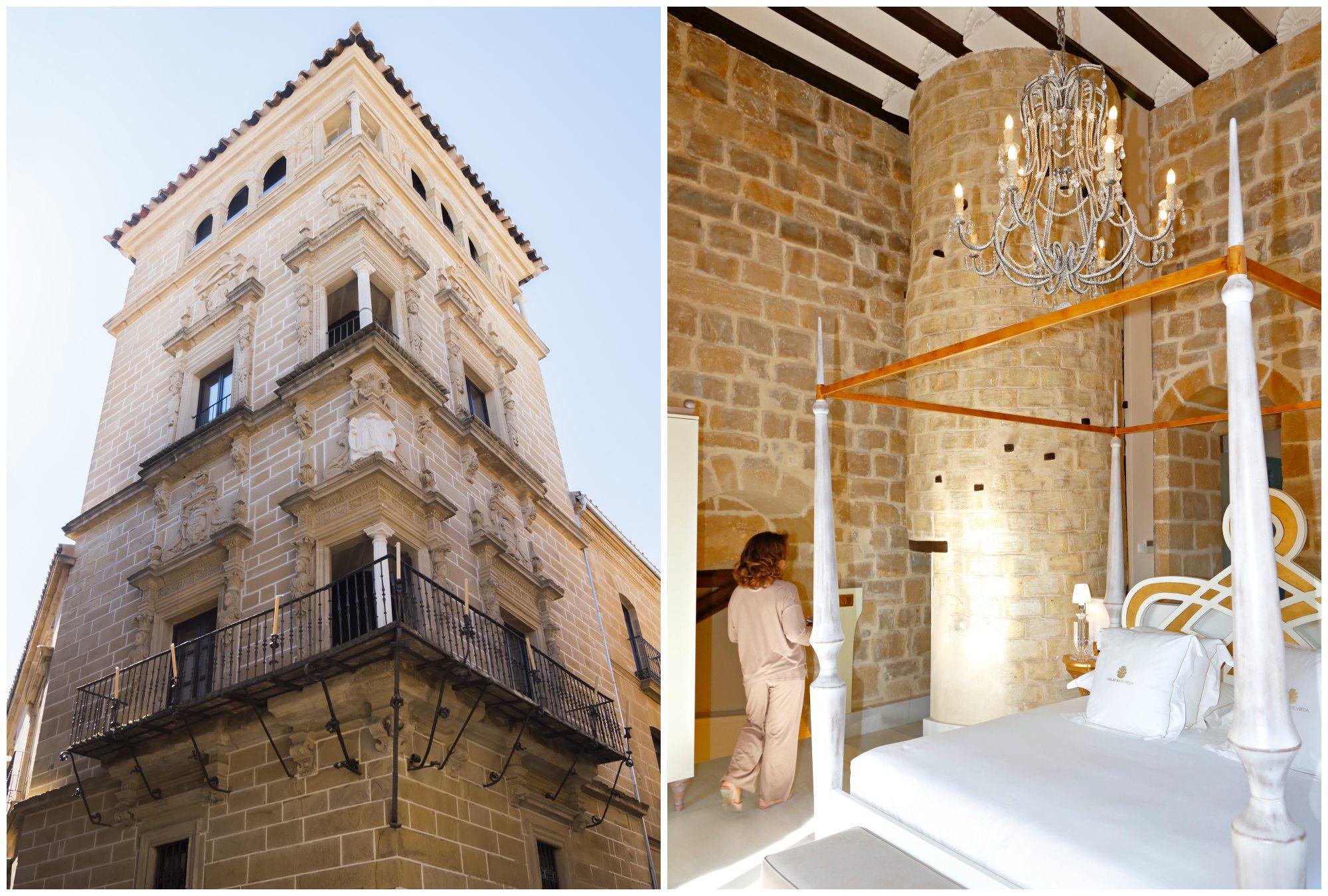 La 'suite' Cobos se encuentra en la parte alta de la torre. Junto a la cama, la escalera de caracol. Foto: Shutterstock.