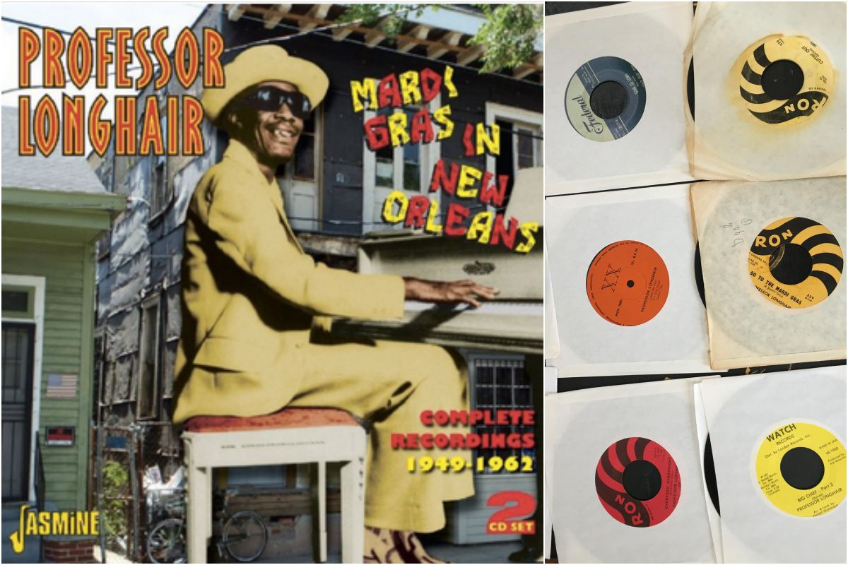 El Professor, en Nueva Orleans, y algunos de sus coloridos vinilos. Fotos: Facebook.