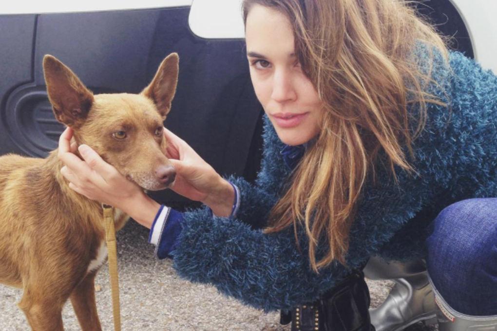 Adriana Ugarte con Chocolate, perro abandonado al que encontró un hogar