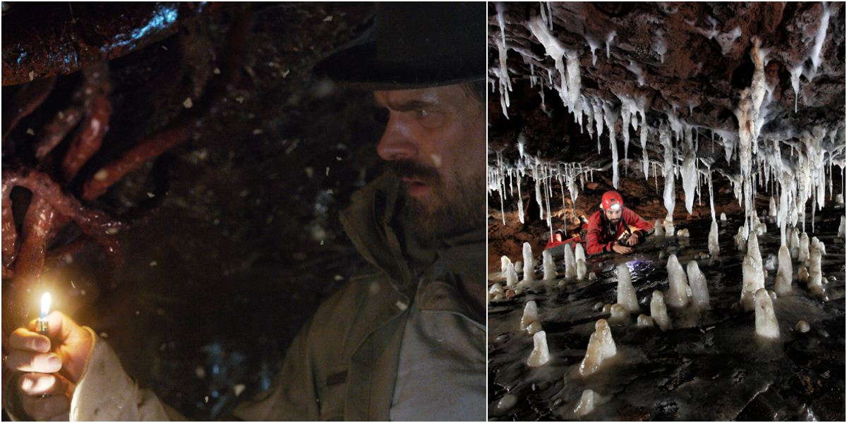Hopper bajo tierra. A la dcha, las asombrosas cuevas de El Soplao. Fotos: D.R / Roberto F. García - espeleofoto.com.