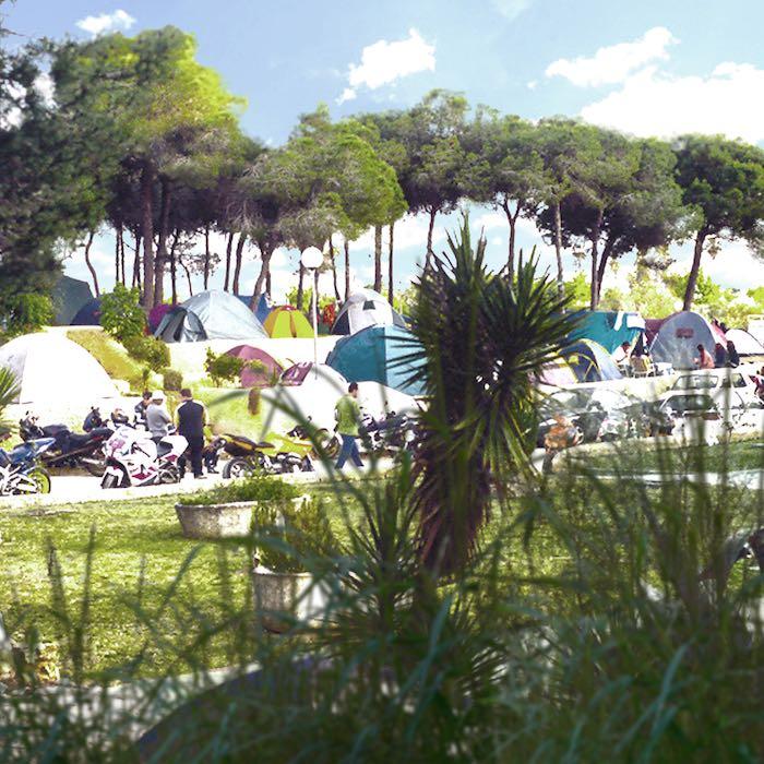 Camping de las Dunas, al lado de la playa de La Puntilla. Foto: Festival Motor Circus.