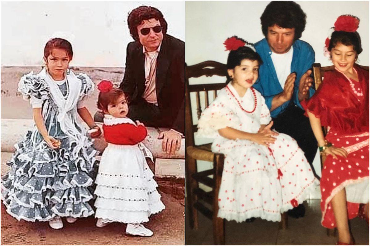 Soleá Morente en una foto familiar antigua, junto a su padre y su hermana, Estrella Morente. Fotos: Instagram