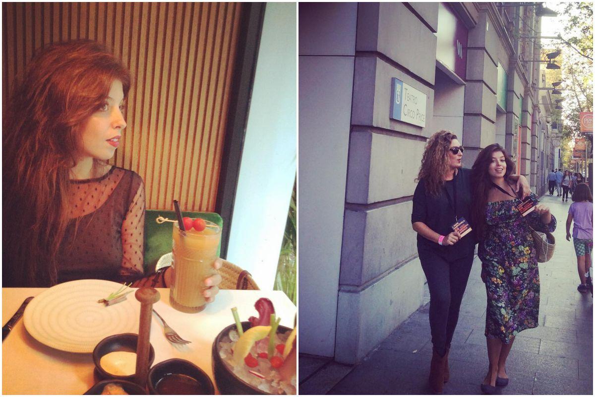 Tomando un cóctel en Amazónico, Madrid, y junto a su hermana en la entrada al Teatro Circo Price, también en Madrid. Fotos: Instagram