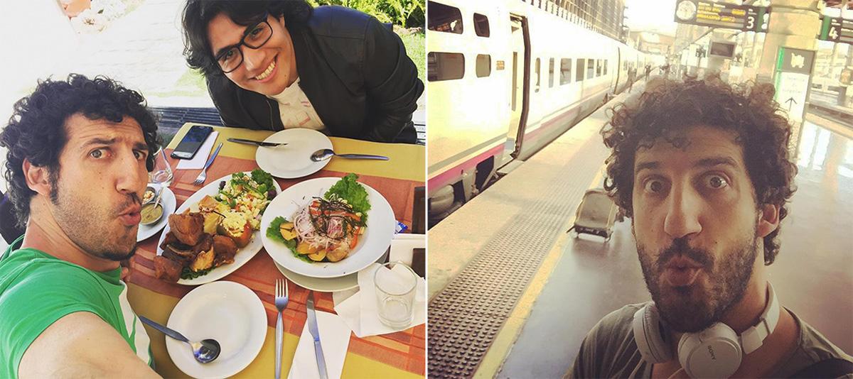 Comida con un amigo en Arequipa y esperando, de nuevo, en una estación de tren. Foto: Facebook