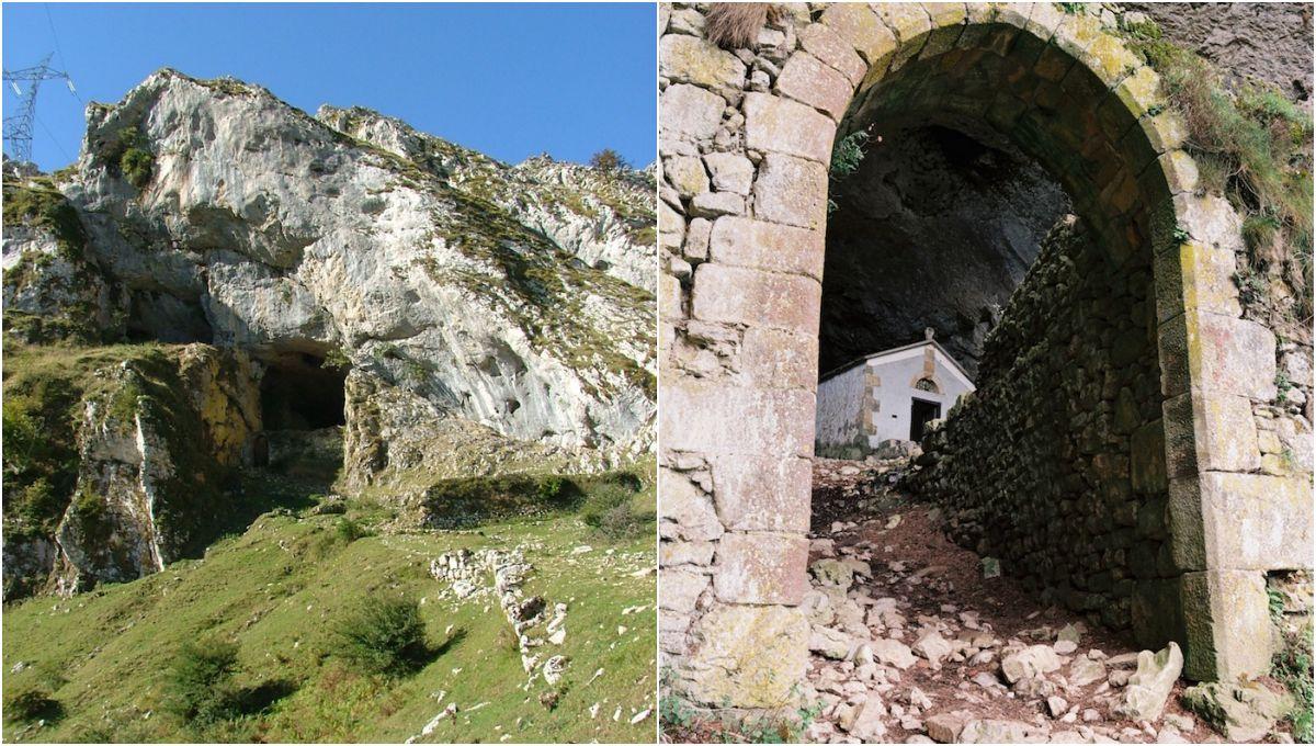 Este es el premio que nos espera al final de la ruta: la cueva y la ermita de San Adrián. Foto: Parque natural de Aizkorri-Aratz.