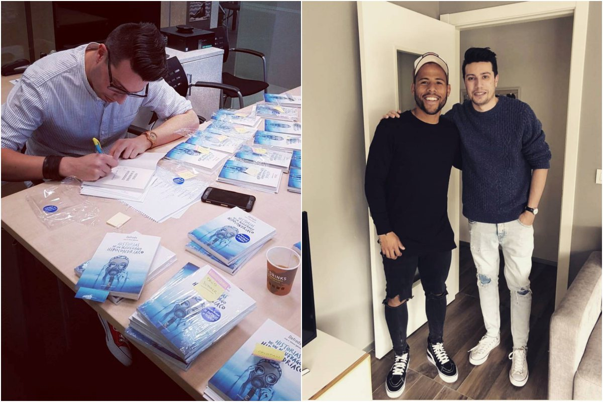 El escritor durante una firma de uno de sus libros. A la derecha, junto al futbolista Luís Gustavo Ledes. Foto: Instagram.