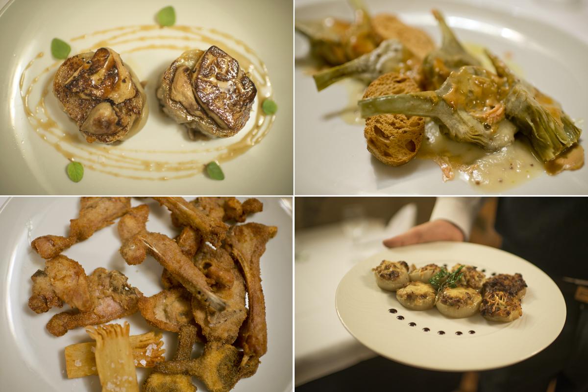 Manitas rellenas, alcachofas, cabrito rebozado y cebollas rellenas del restaurante 'La Matarraña', en La Fresneda.