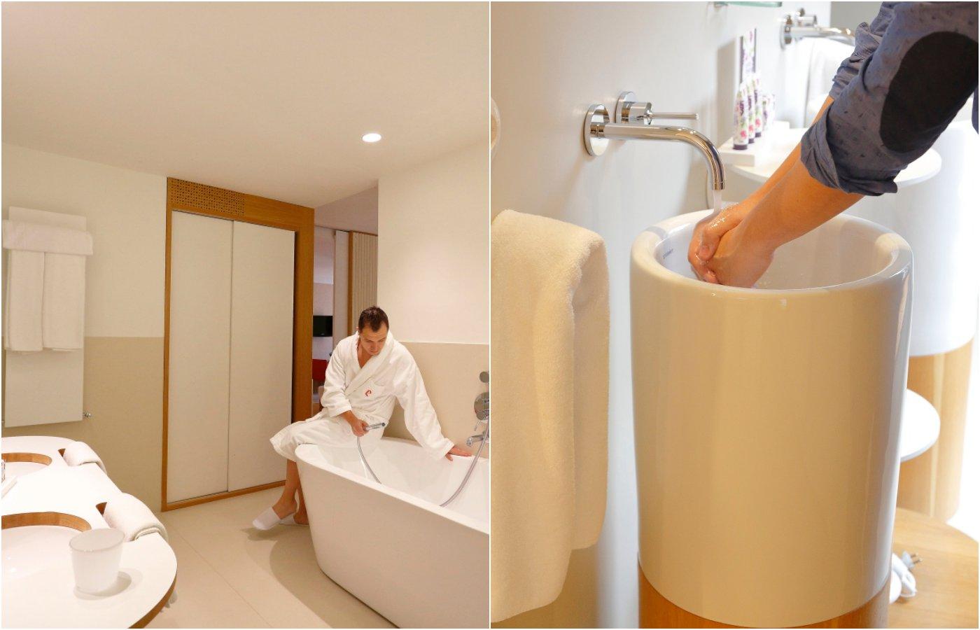 Hotel Echaurren. Baño y lavabo vertical