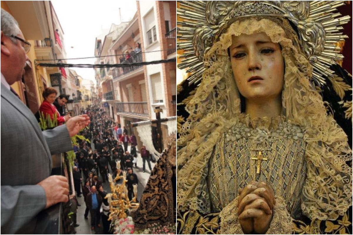 Cantándole una saeta a la Virgen de La Soledad, una talla de Pedro de Mena.