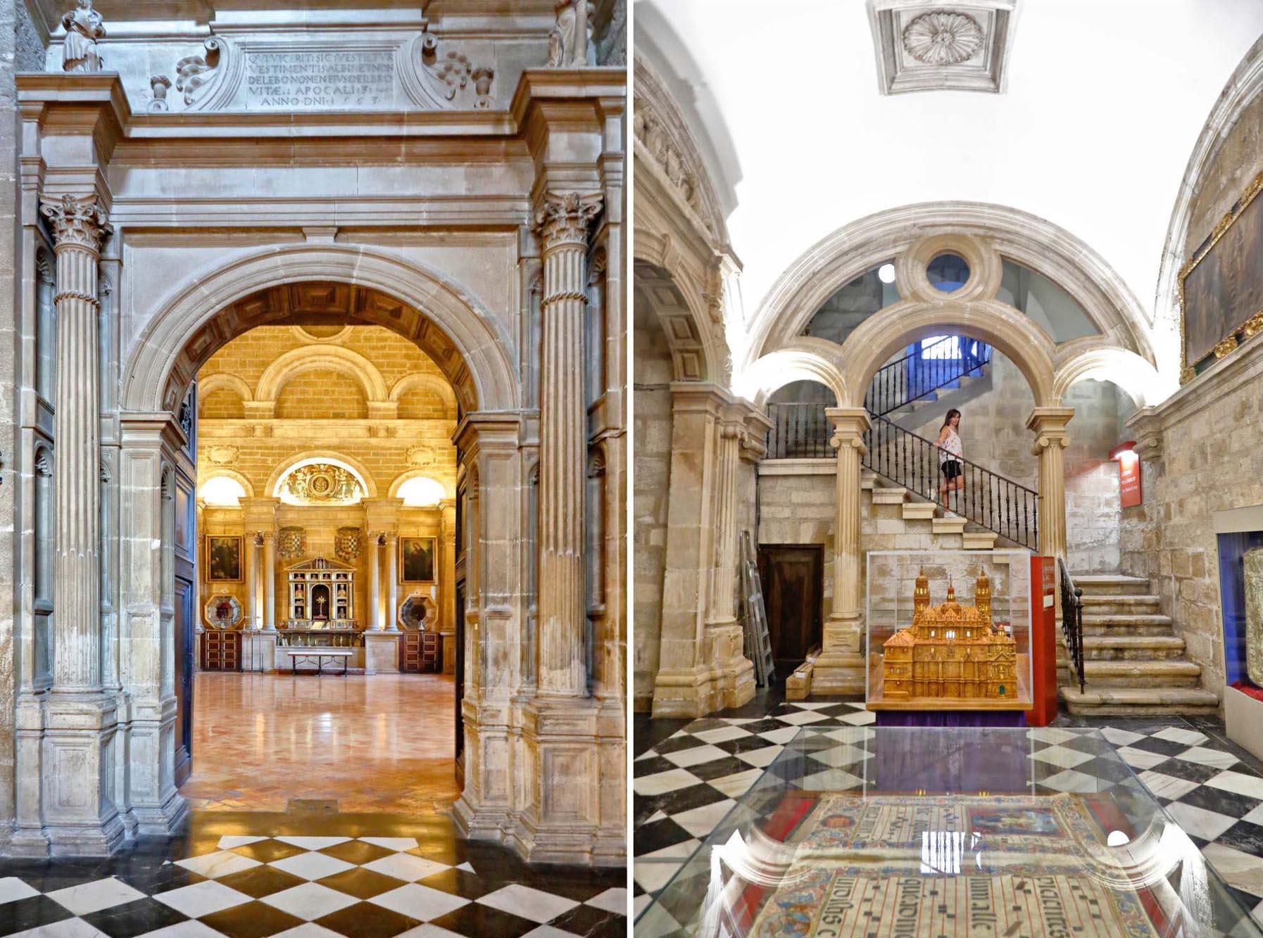 La Sala Capitular es una de las joyas de la catedral. A la derecha, el arco de la entrada al Museo Diocesano.