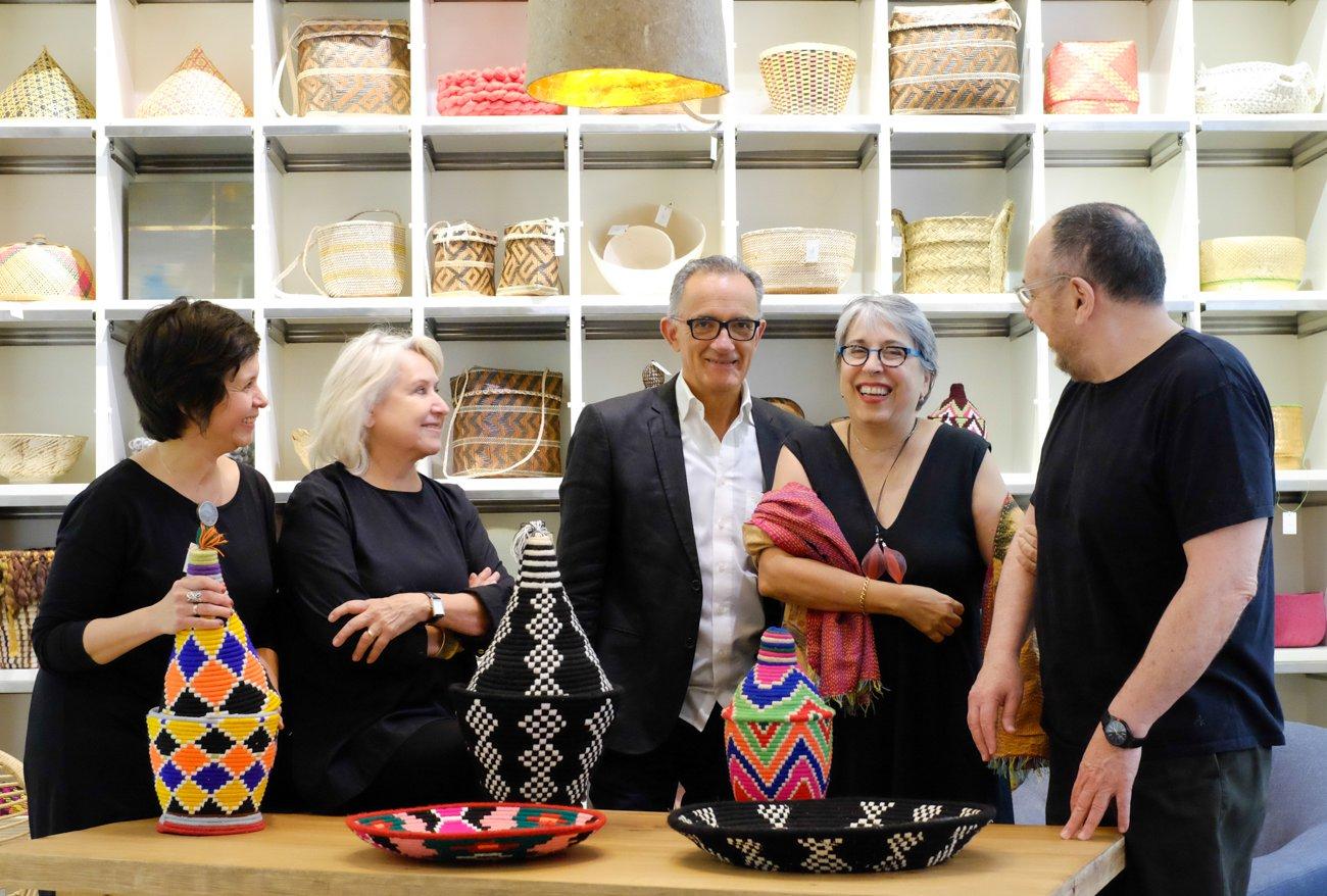Cesta República: el equipo de socios de la tienda (Marynel Ortiz, Maitena de Elguezábal, Guillermo Barrios, Ana Loreto y Fermín Valladares).