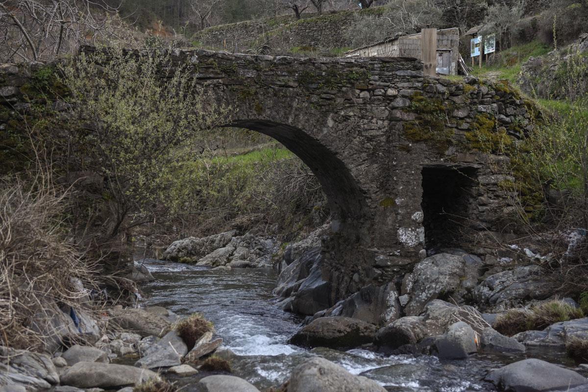 Hermosos puentes de piedra peinan a los ríos de la comarca aquí y allá.