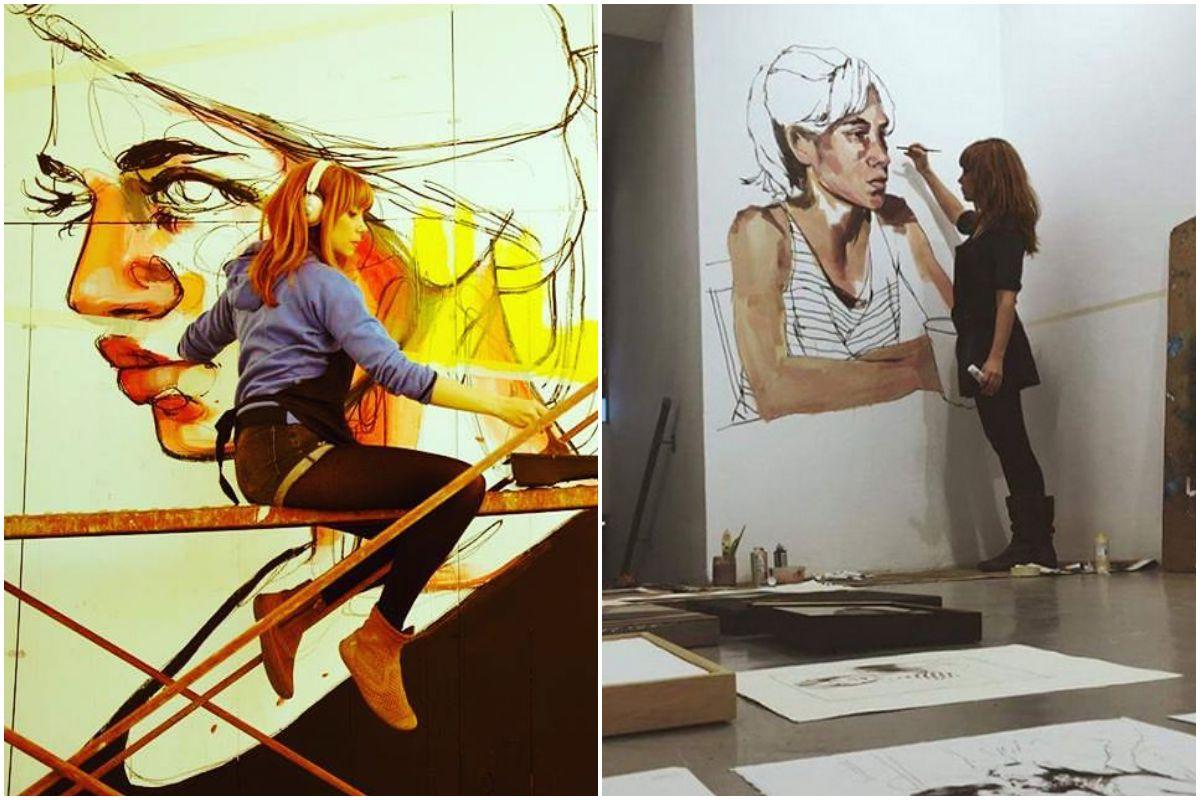 La artista en dos de sus murales. Foto: Instagram