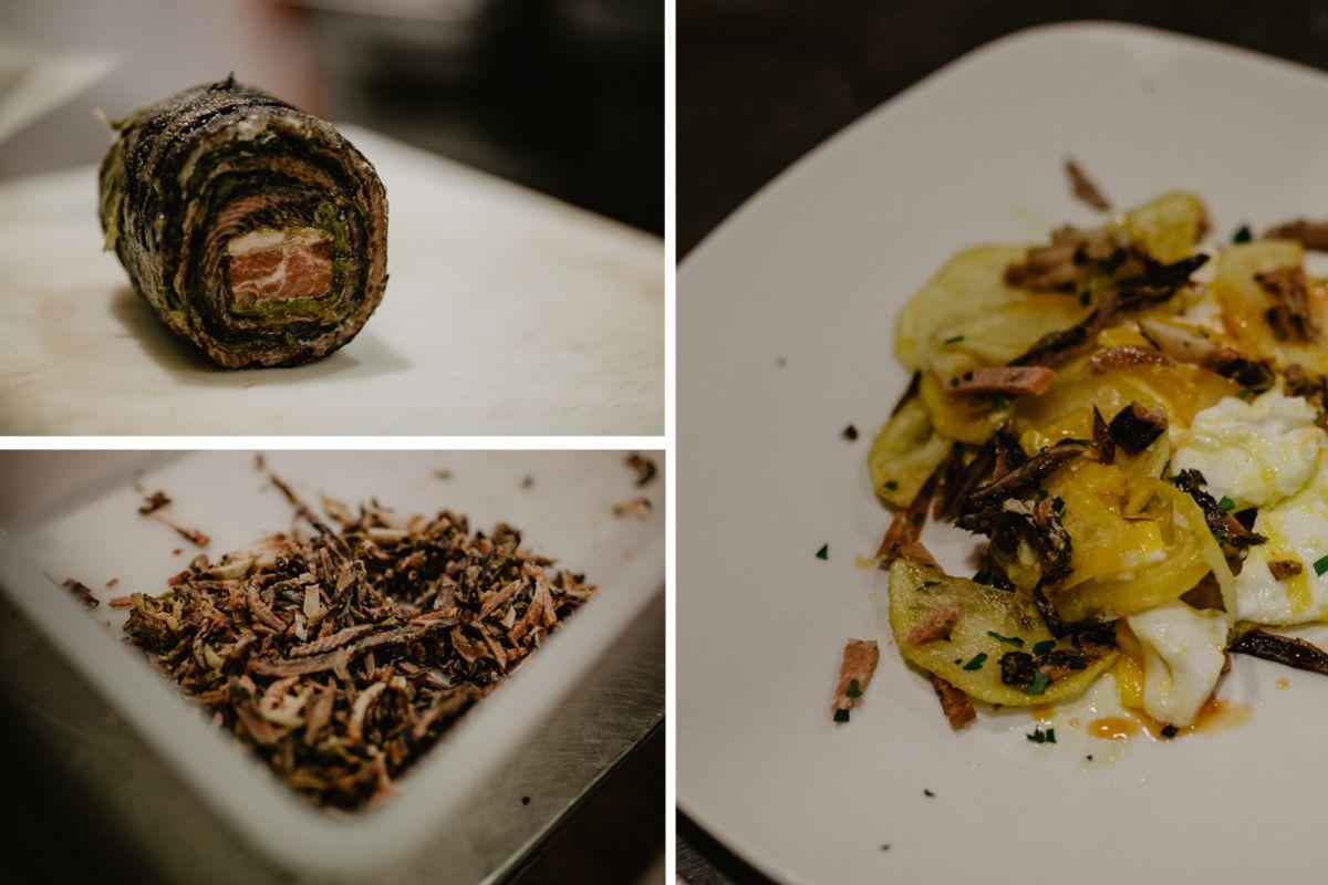 Platos de lamprea del restaurante 'Chef Rivera'.