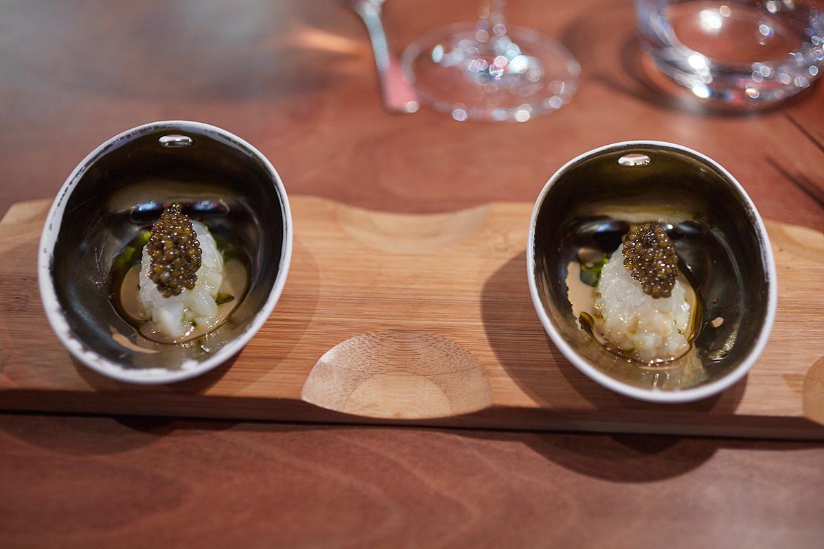 El tartar de sepia con caviar.