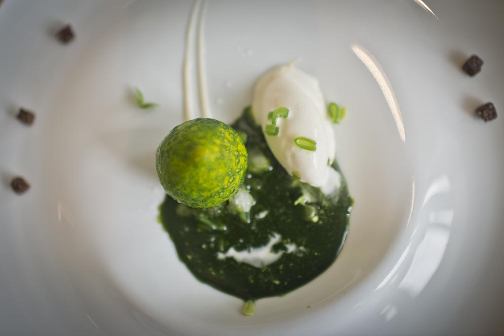 Limón con jugo de albahaca, judía verde y almendra.