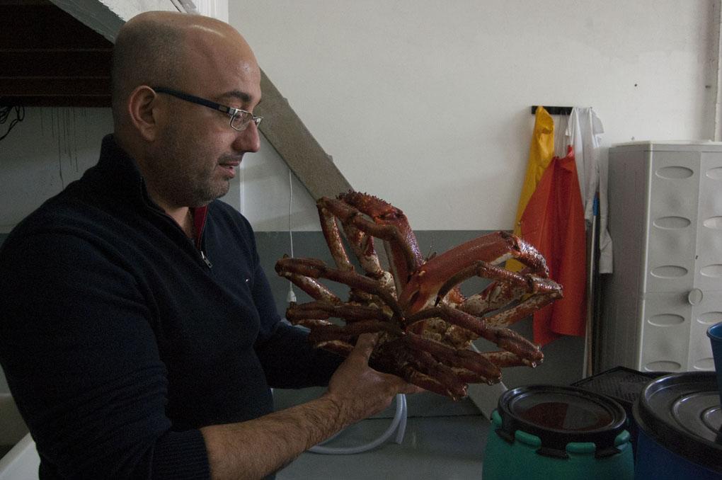 Roberto sostiene un gran centollo entre sus manos.