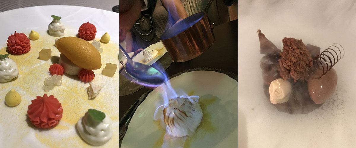 Los tres postres de 'Coque': la ganache, la tarta Alaska flambeada y las 14 texturas de chocolate.
